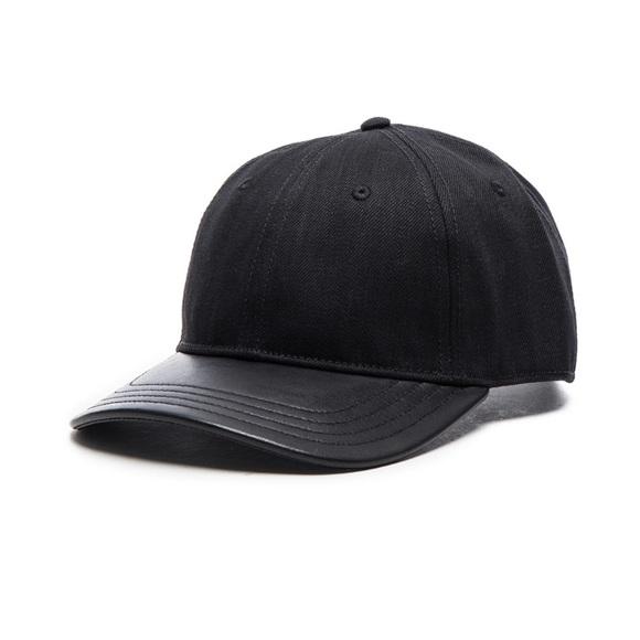 1dc03faaecc Rag And Bone Black Leather Rim Baseball Hat